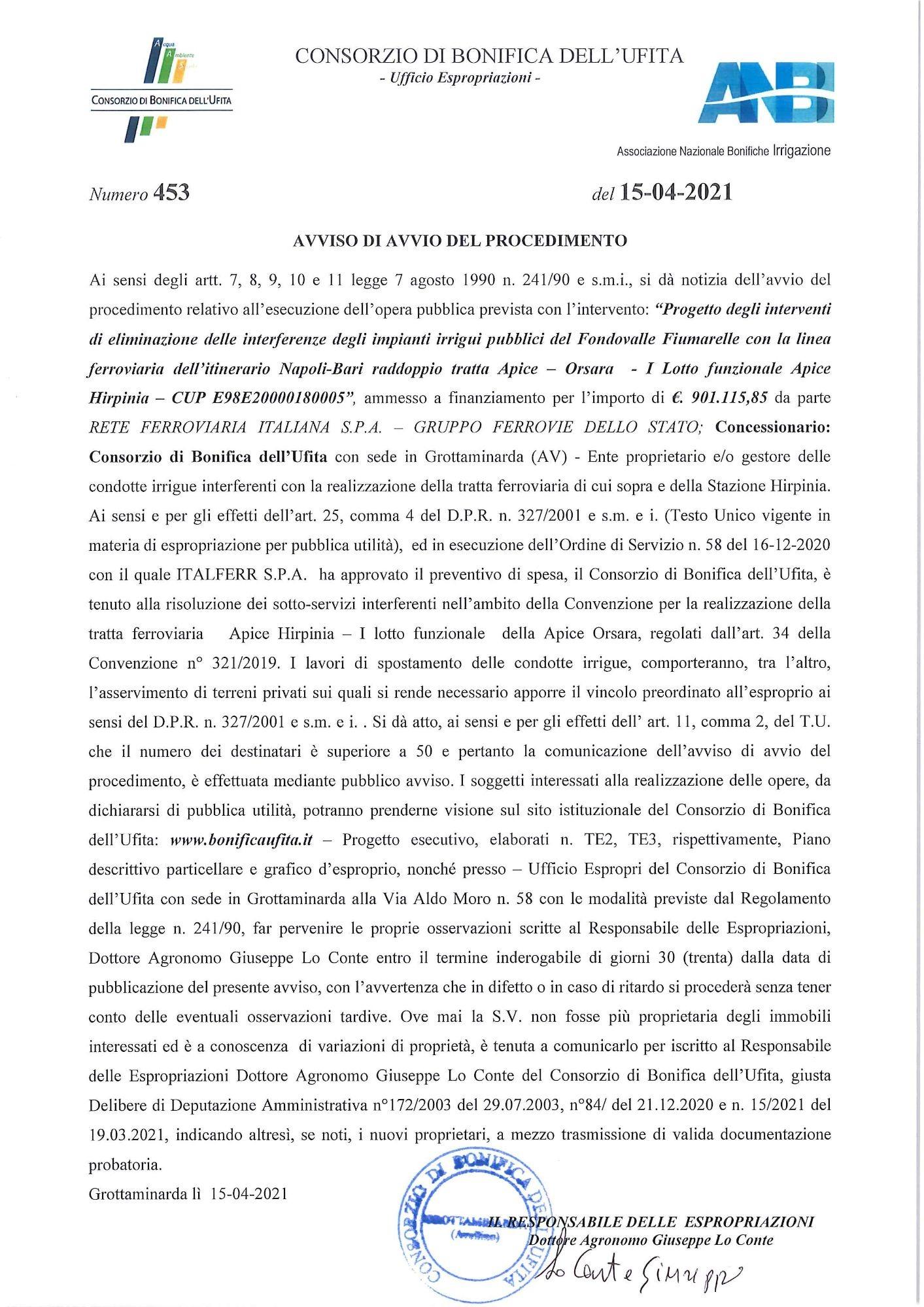 Avviso Avvio vincolo espropri ITALFERR