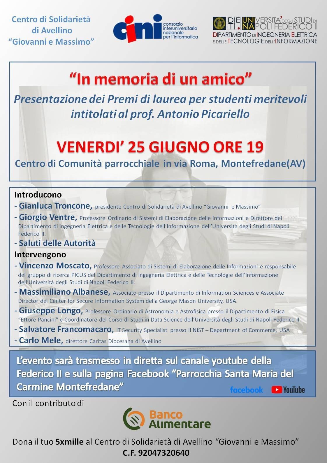 """Montefredane, si presenta il """"Premio Antonio Picariello"""" in memoria del docente prematuramente scompars"""