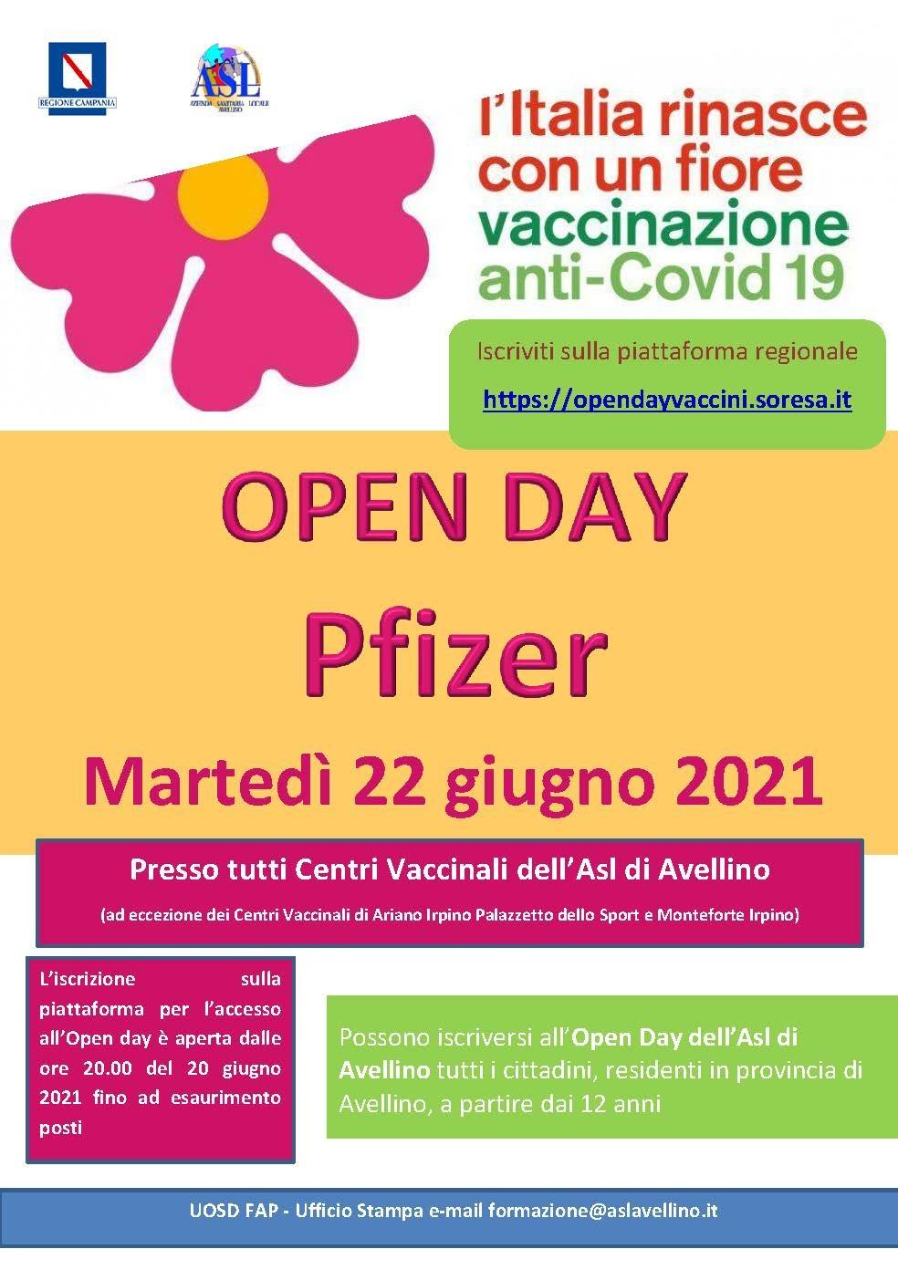 Open Day Pfizer, aperte le prenotazioni per martedì 22 giugno