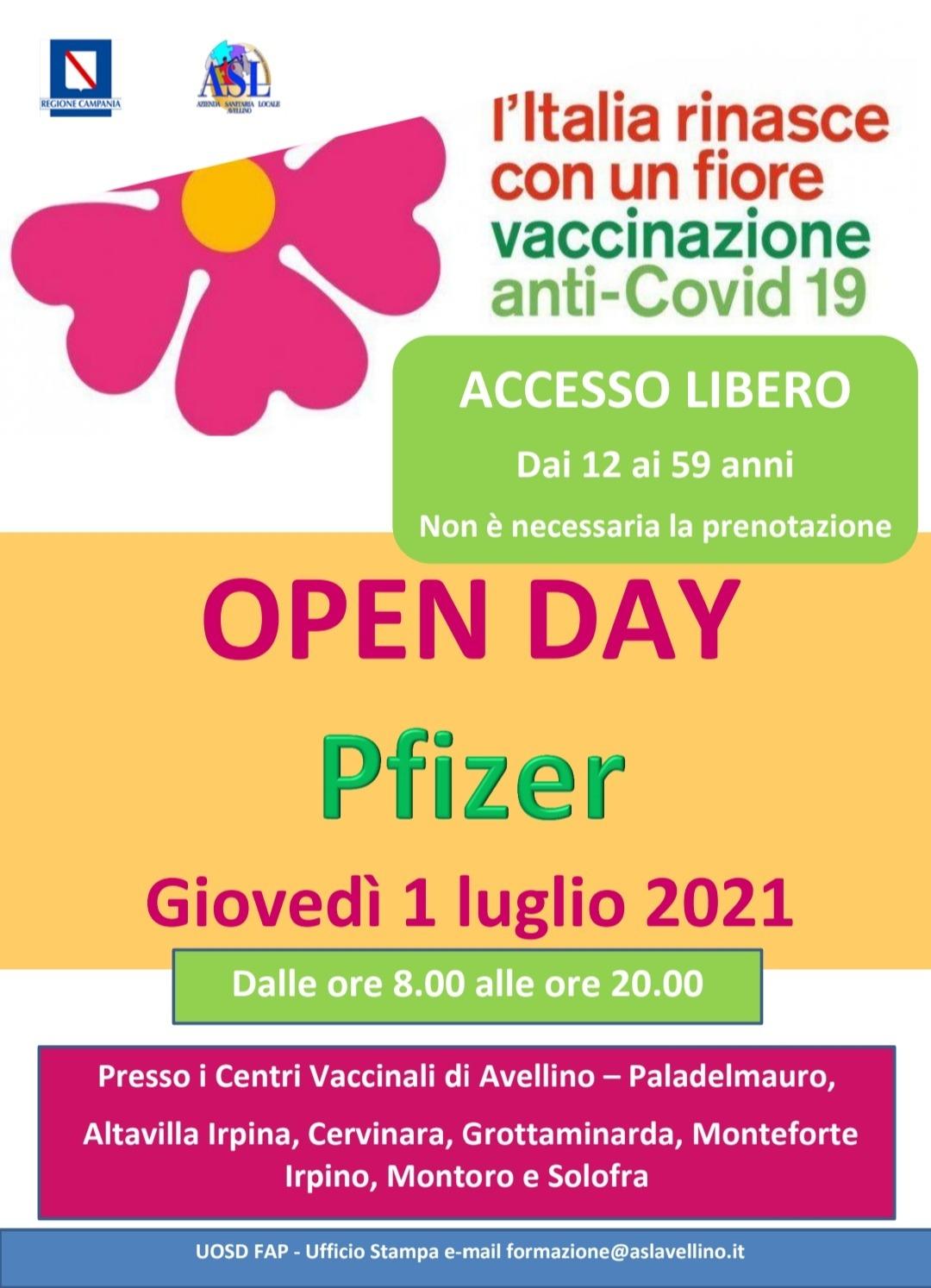 Open Day Pfizer, il 1 luglio accesso libero senza prenotazione