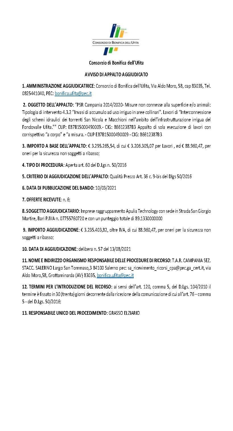 Consorzio di Bonifica dell'Ufita: AVVISO DI APPALTO AGGIUDICATO